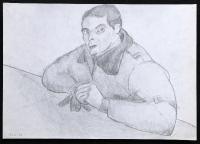 1978-02-11, kleines Porträt als Gefreiter mit Uniformjakke am Tisch sitzend