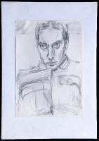 1986-01-25-Selbstporträt mit vorgeneigtem Kopf und Uniformjacke mit Falte, Bleistift