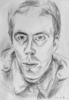 1986-01-26-Selbstporträt mit zugeknöpfter Uniformjacke wahrscheinlich bei Kunstlicht, Bleistift-2_1