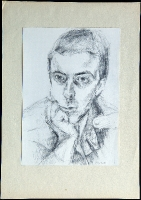 1986-01-26-Selbstporträt, nachdenklich mit aufgestütztem Kopf in Uniformjacke und seitlich gerichteten Blick, Bleistift_1